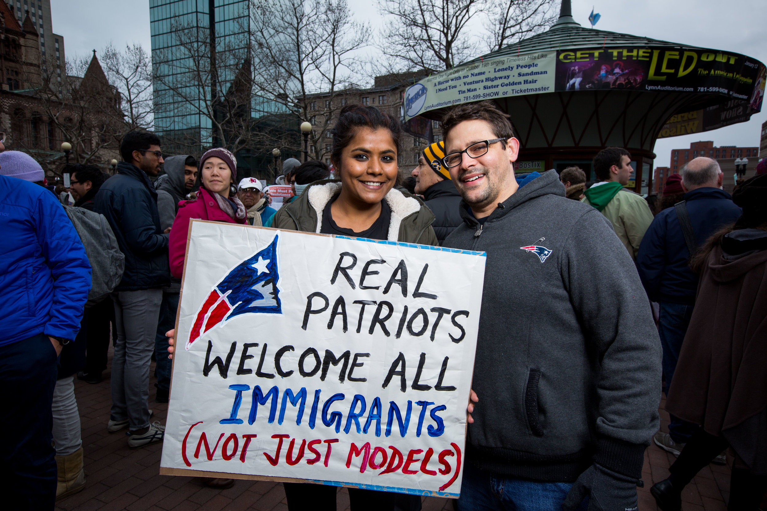 """MARK & ARCHANA    Mark - """"We want people who believe that immigrants are a threat, to realize that immigrants have real allies here in Boston."""""""