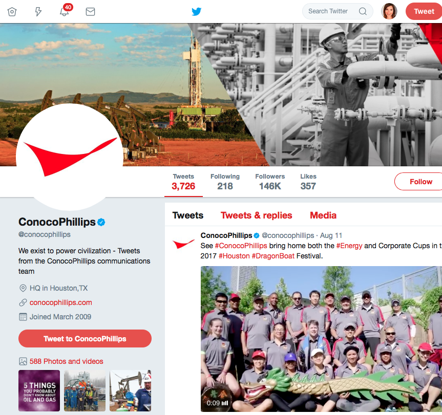 ConocoPhillips Social Media Program - Twitter. Strategy, content and channel management.