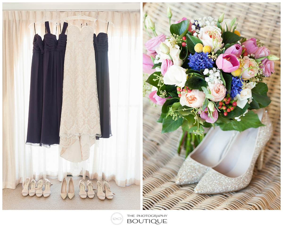wedding dresses, flowers and shoes