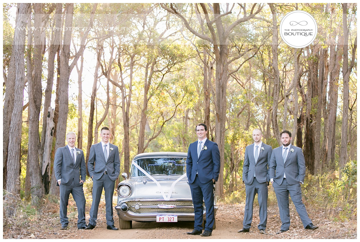 boys with chevy limo in the forest at chandeliers on abbey margaret river