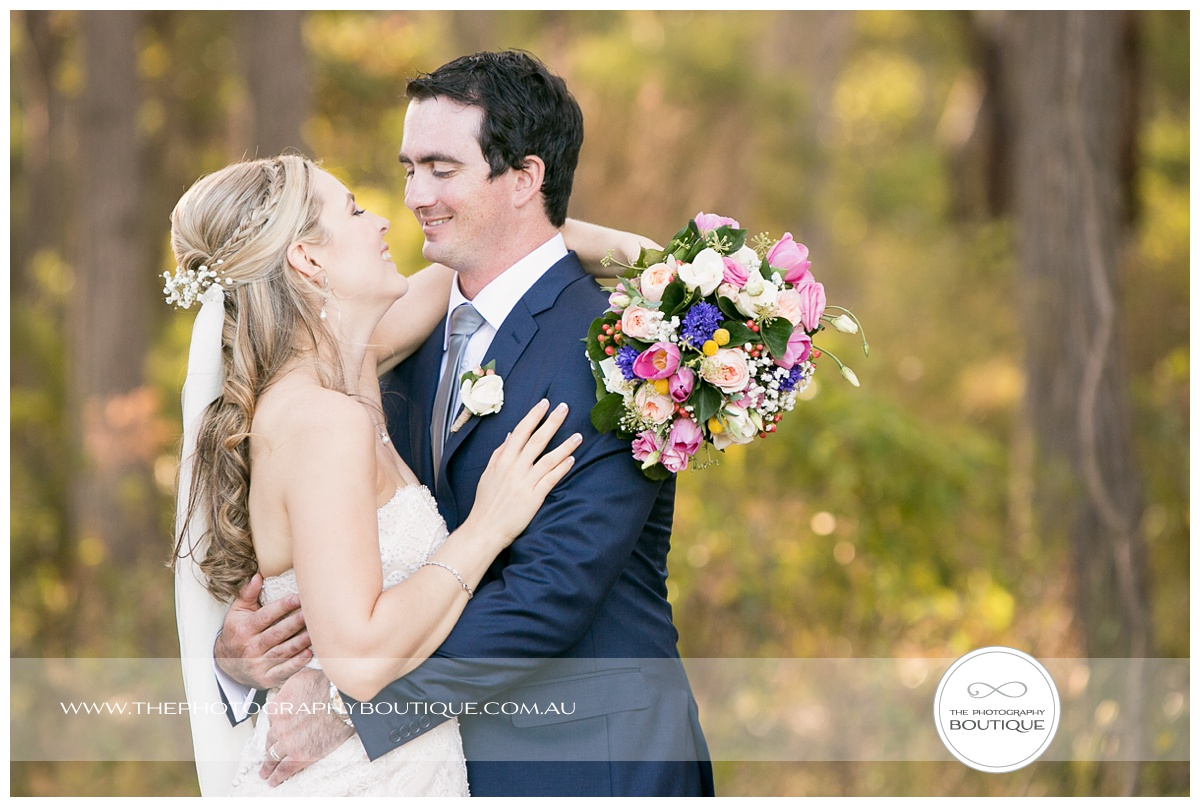 bride and groom in love at chandeliers on abbey margaret river