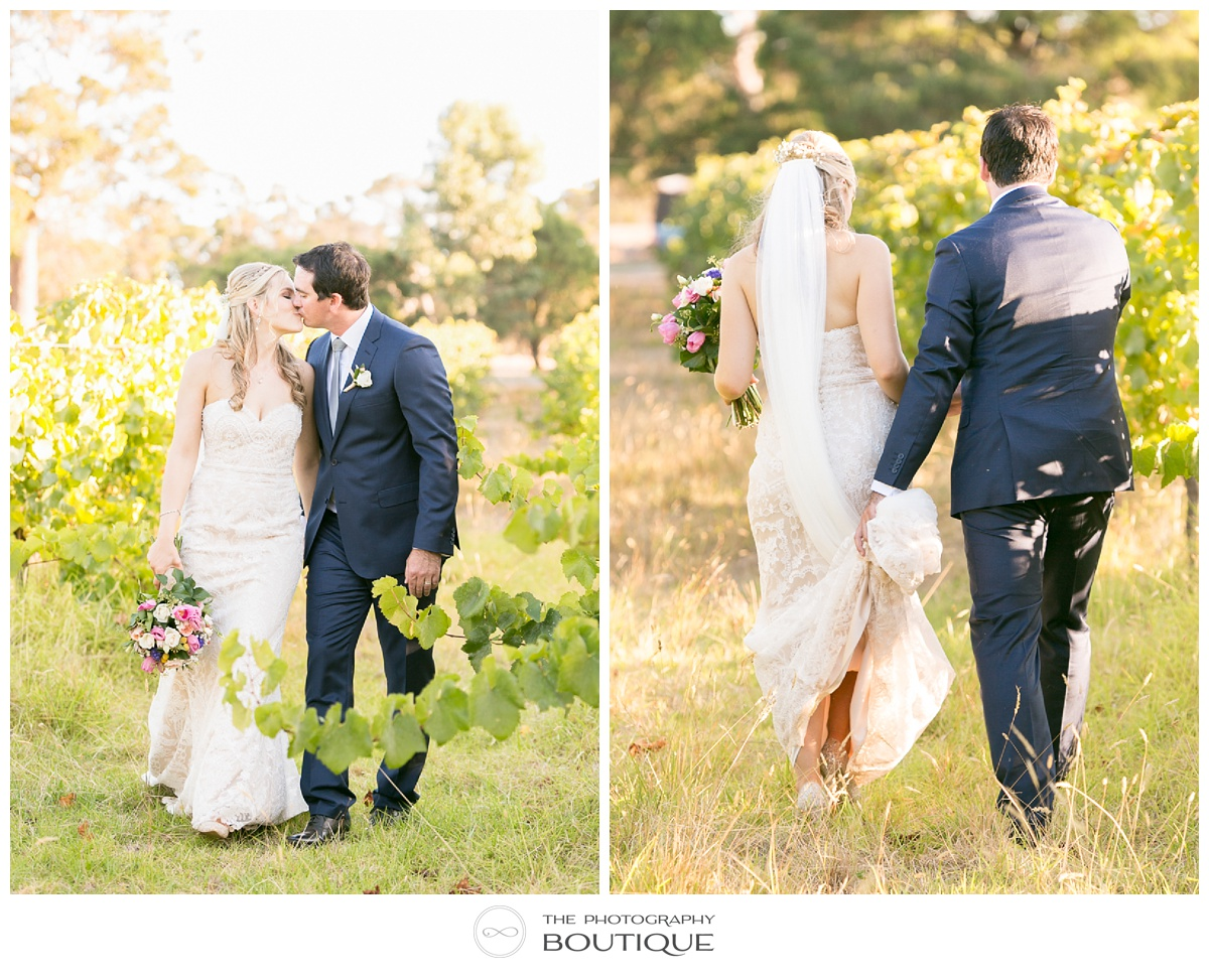 bride and groom at margaret river winery