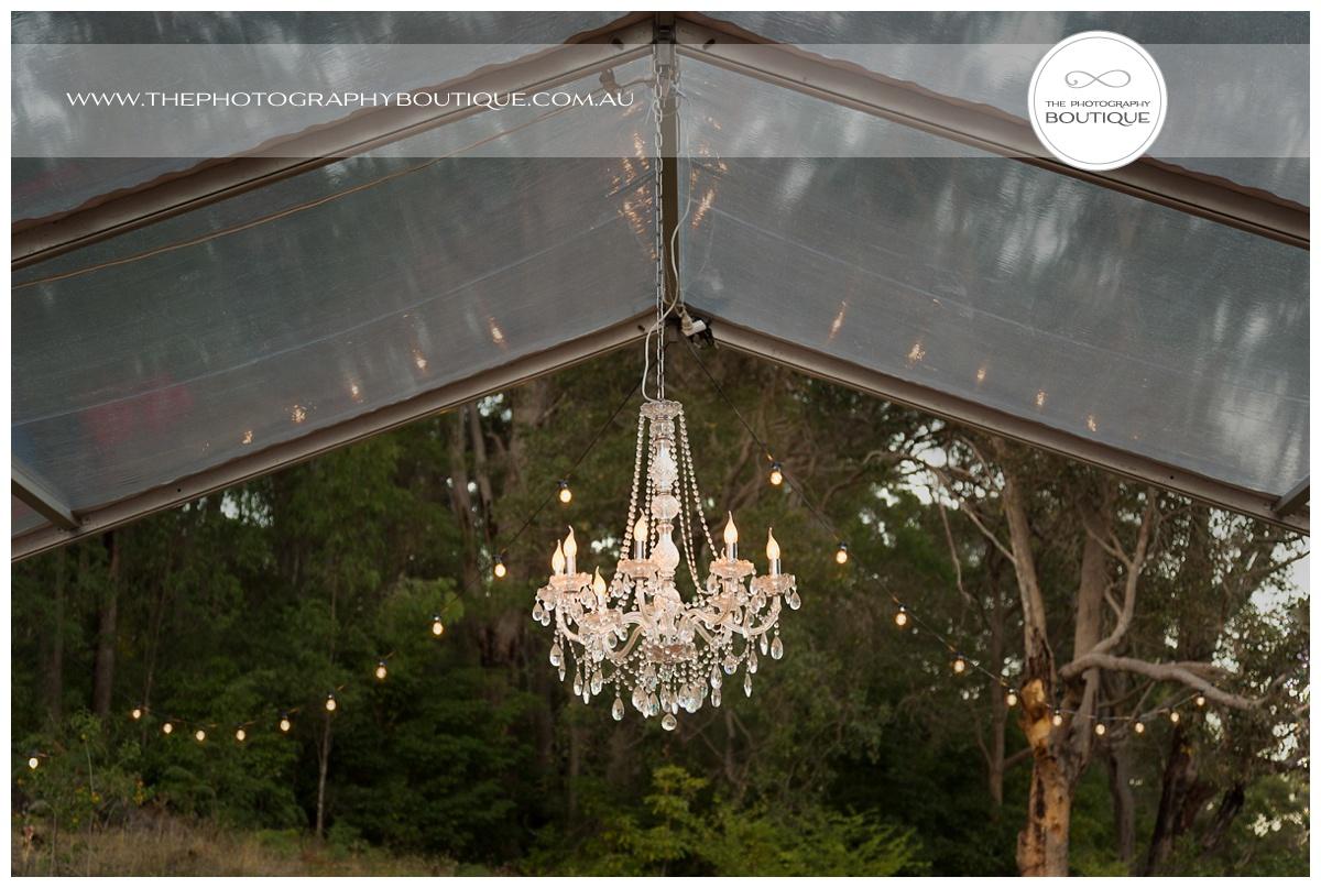 chandelier in wedding marquee