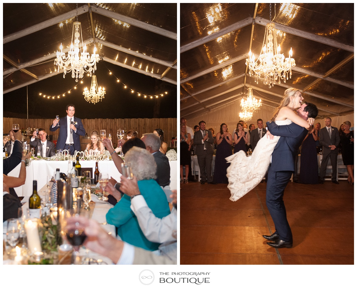 wedding reception at chandeliers on abbey margaret river