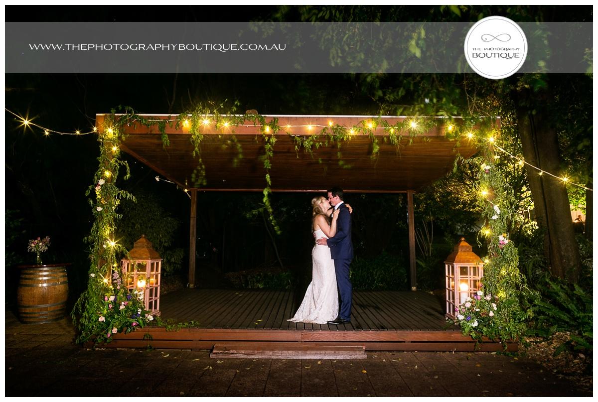 wedding night photo of bride and groom