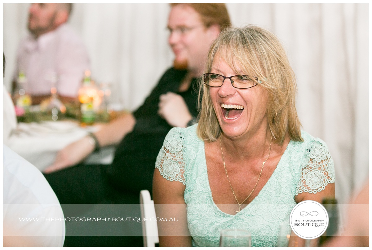 guest laughing at wedding reception margaret river