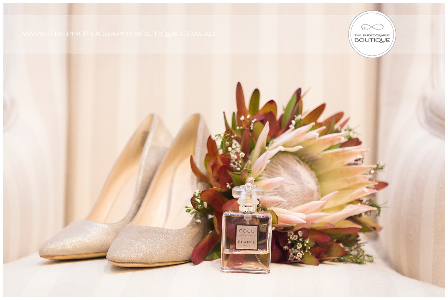 Brides protea wedding flowers shoes and perfume