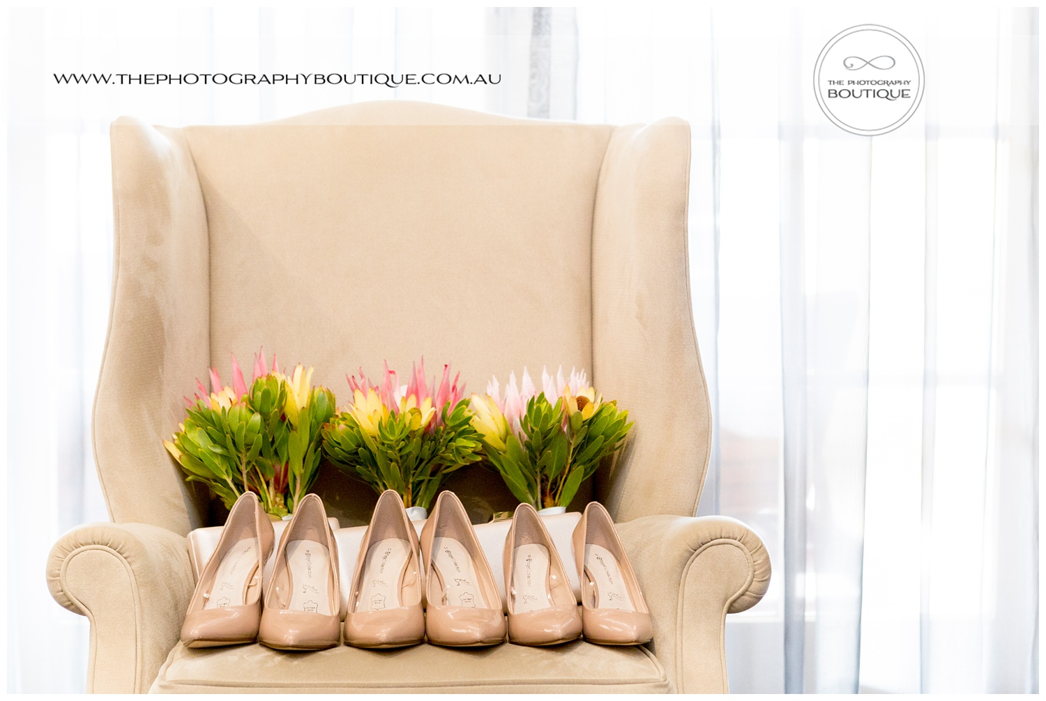 Bridesmaids shoes and protea bouquets