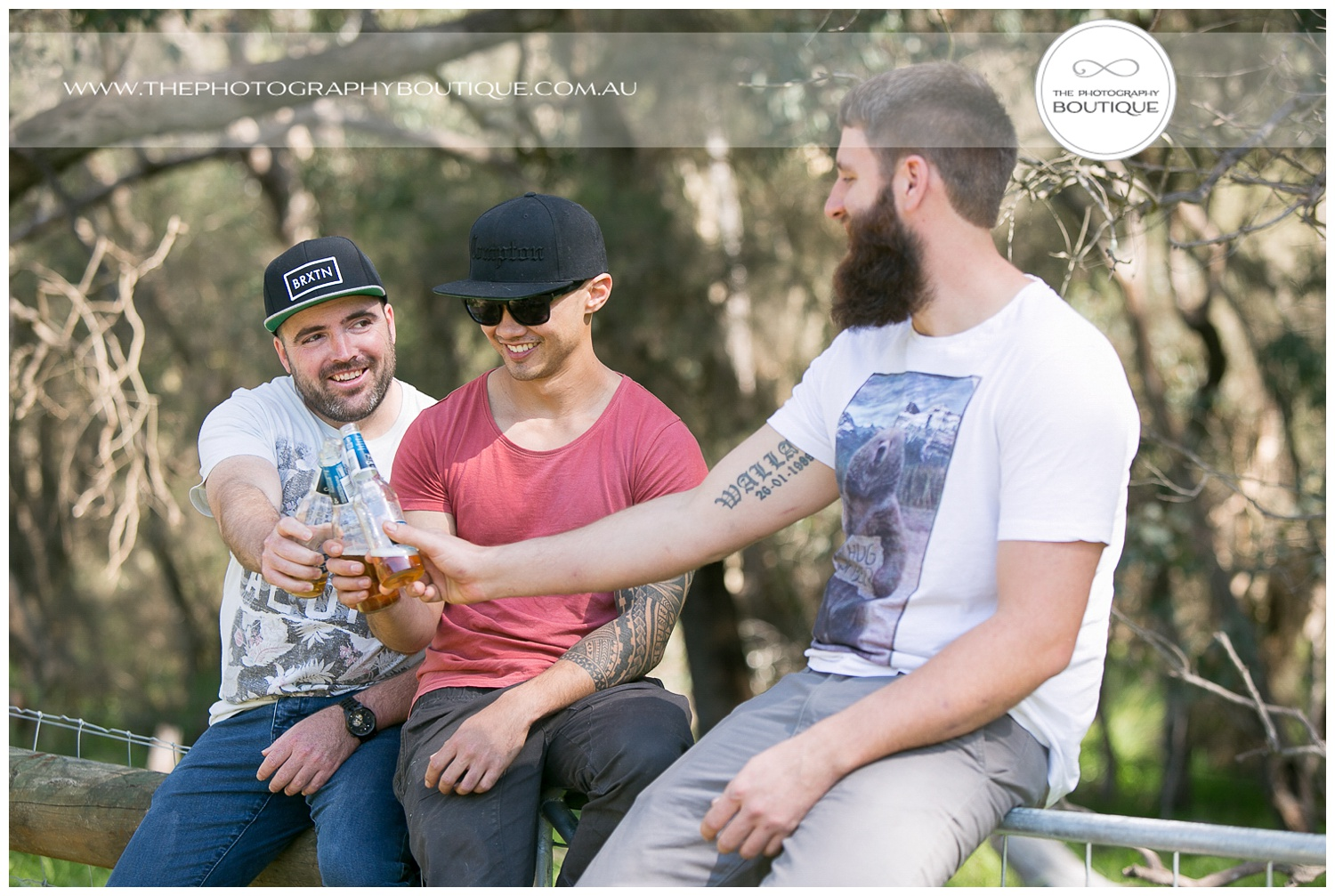 boys having a beer at roelands backyard wedding