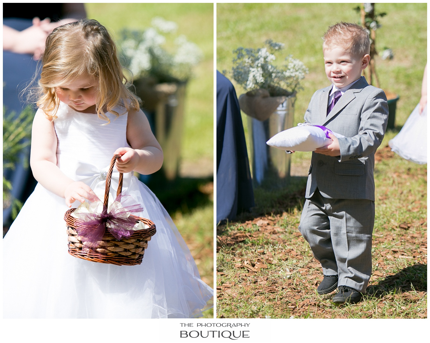 flower girl and paigeboy walking down the aisle