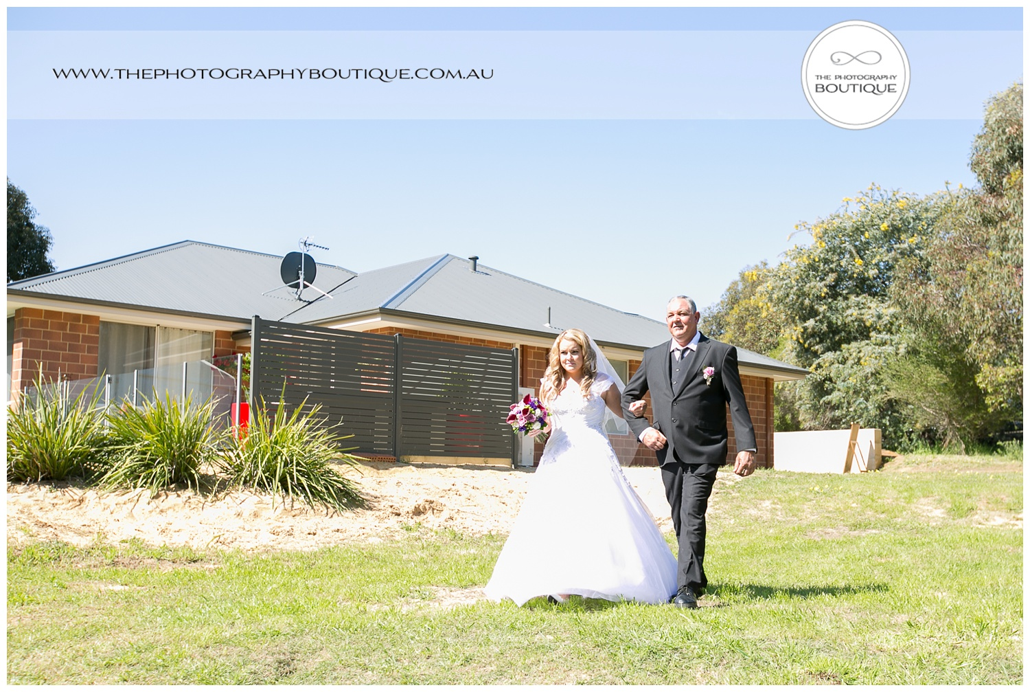bride arriving at roelands backyard wedding