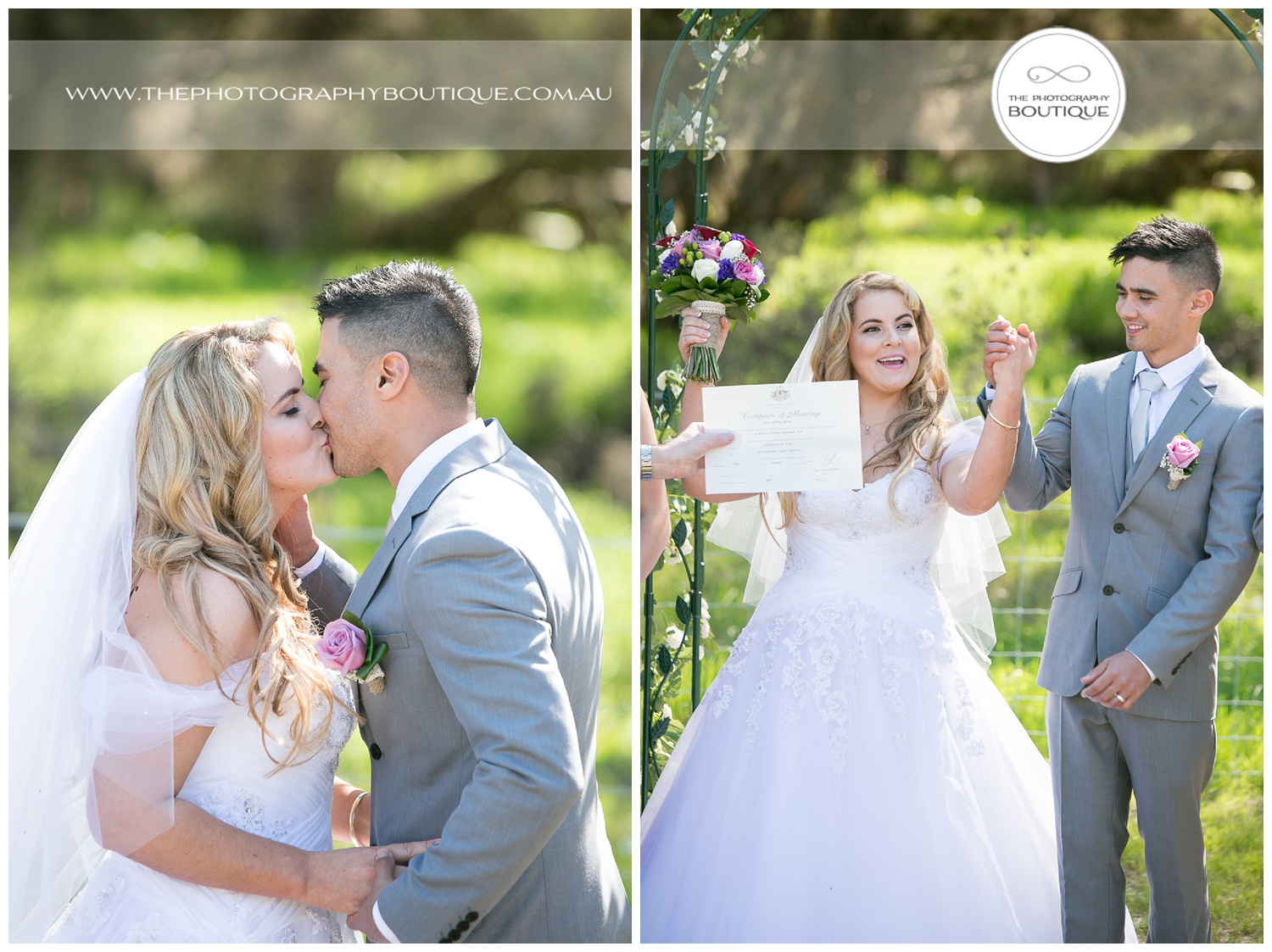 the kiss and certificate at roelands backyard wedding