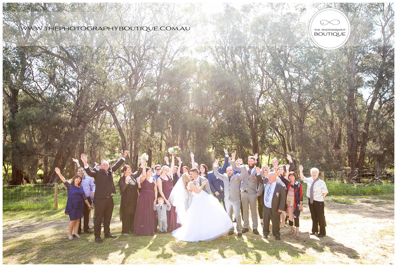 wedding group photo at roelands backyard wedding