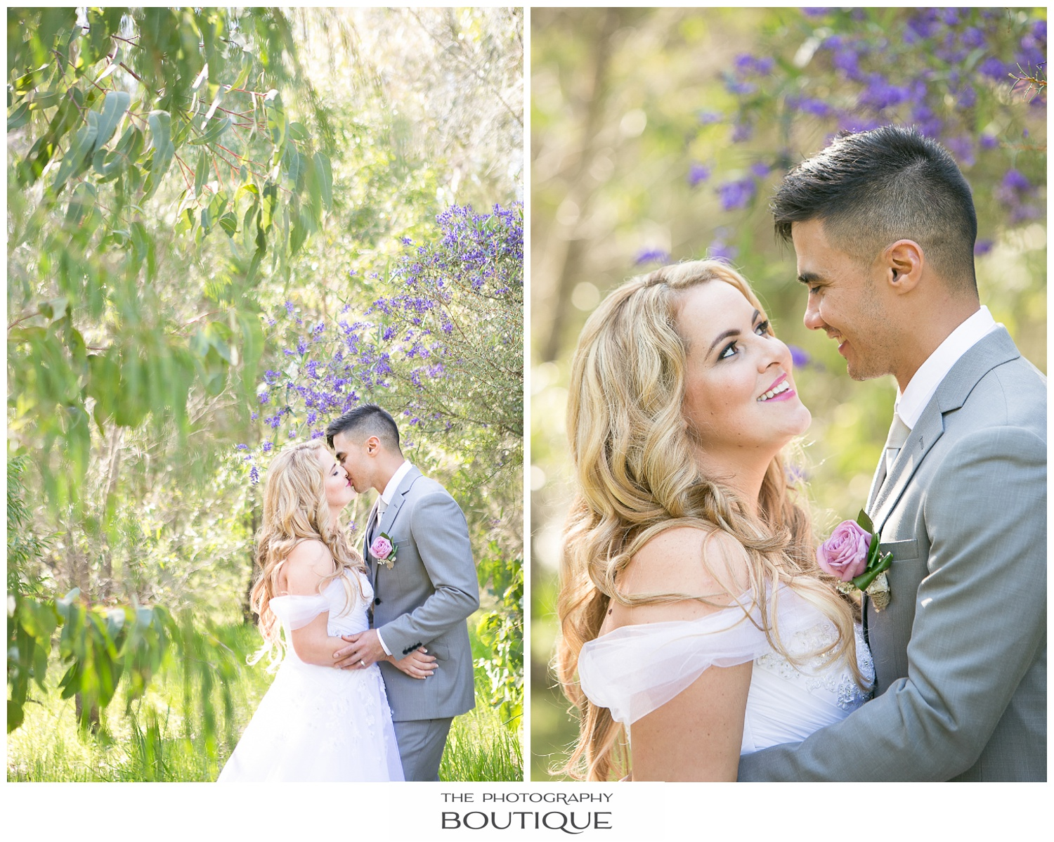Bride and groom sharing a moment in the park in Roelands Bunbury