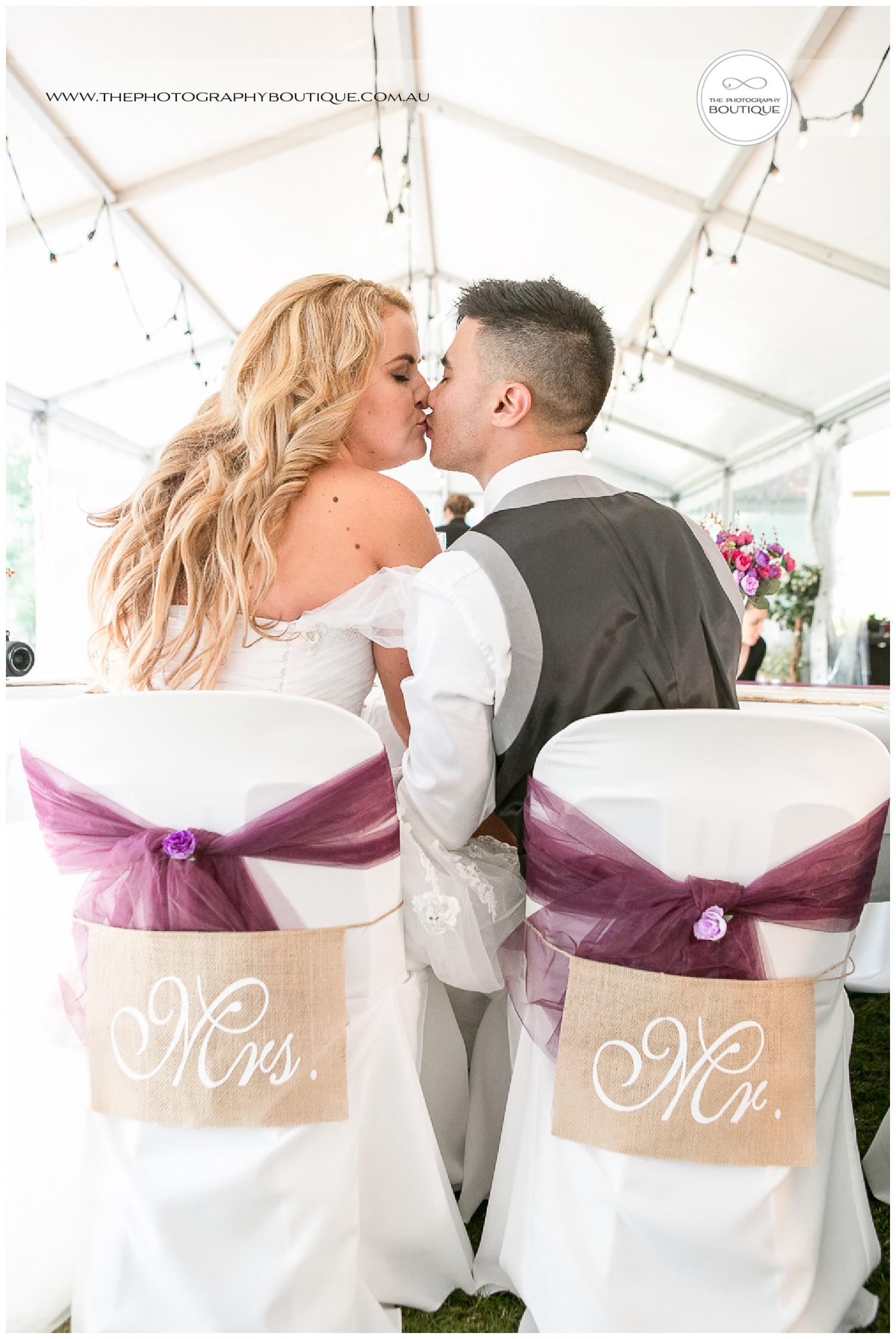 Mr and Mrs kissing at Roelands Bunbury wedding