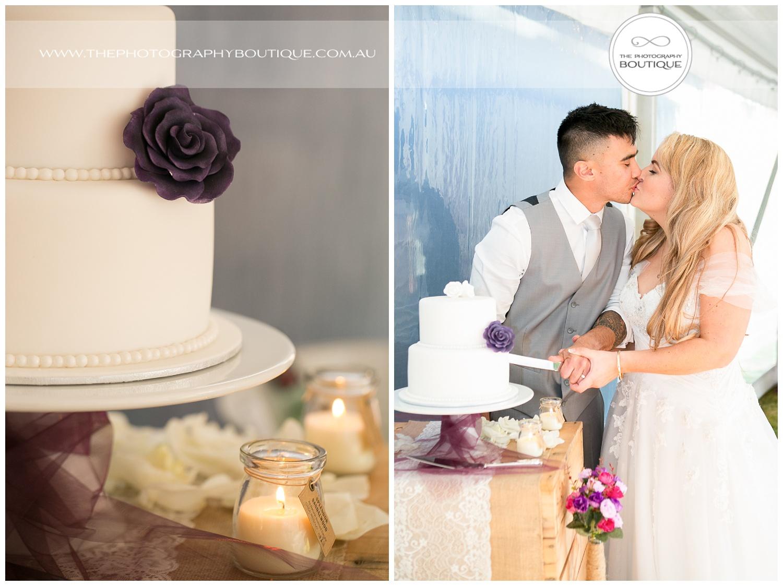 bride and groom cutting the cake at Roelands Bunbury wedding
