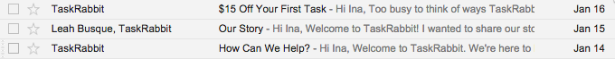 *  TaskRabbit or Leah Busque, TaskRabbit
