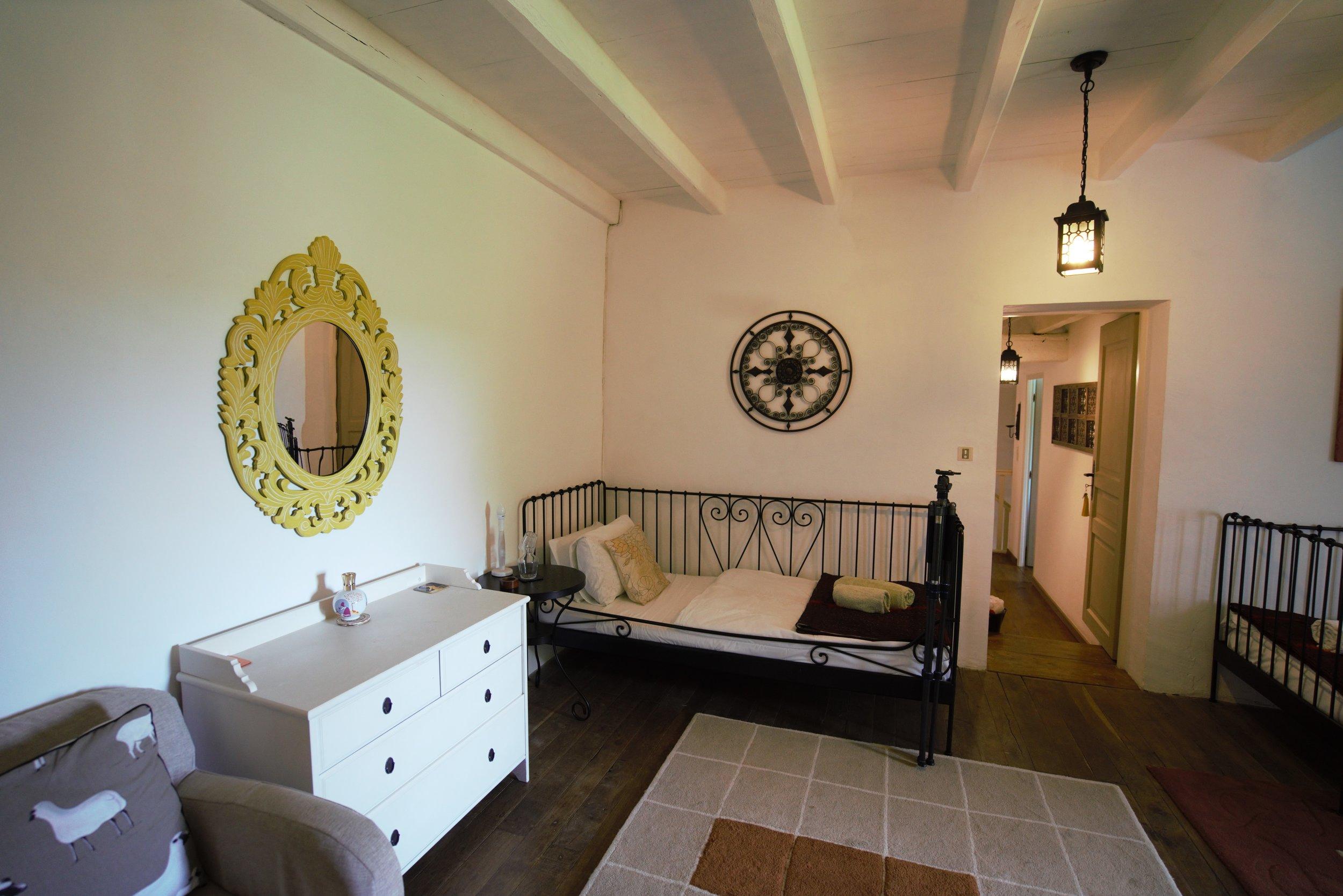 White beams and oak floors