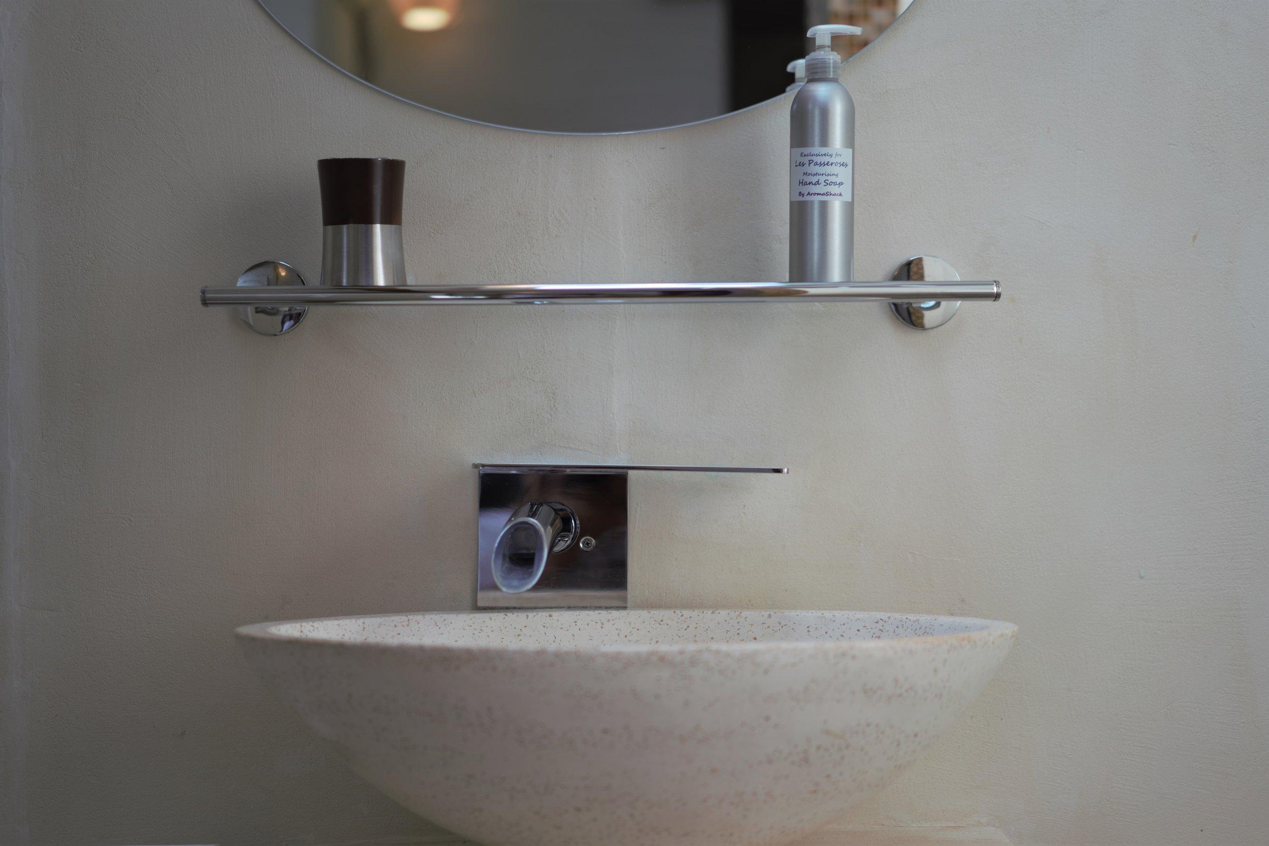 Terrazzo basin and wall tap