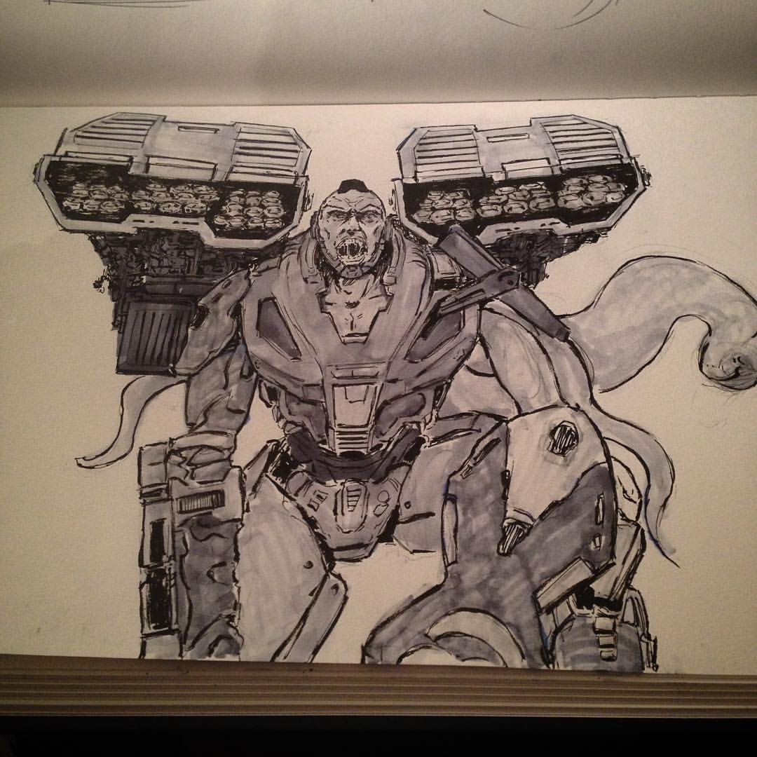 No.30&31 going out with a bang. Kain in heavy armor #ink #inktober #markofaries #art #scifi #scifiart #horror #mech #arthabit #sketch #sketchbook