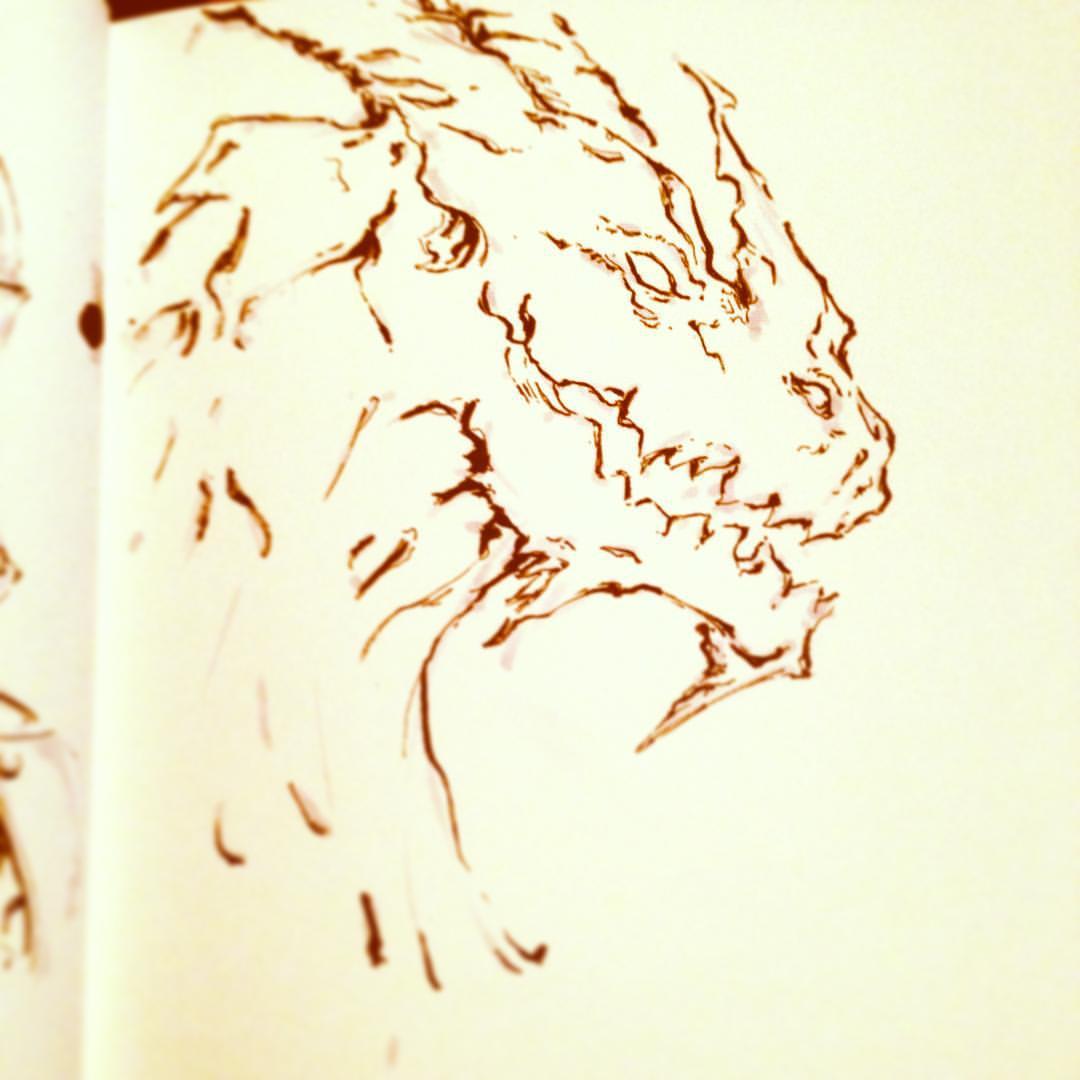 No.24 catch up #inktober #ink #drawing #dragon #arthabit #sketchbook