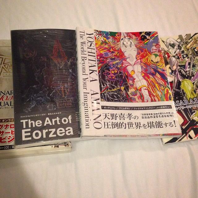 #artbook #collection is growing, some great finds in Yokohama japan. #finalfantasy #ffxiv #realmreborn #yoshitakaamano  #ragnarok #basara3 #art #book #drwing #painting