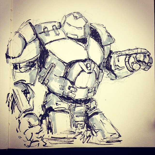 #inktober #ink #marvel #ageofultron #hulkbuster #avengers #fanart #drawing #sketching #sketchbook #art