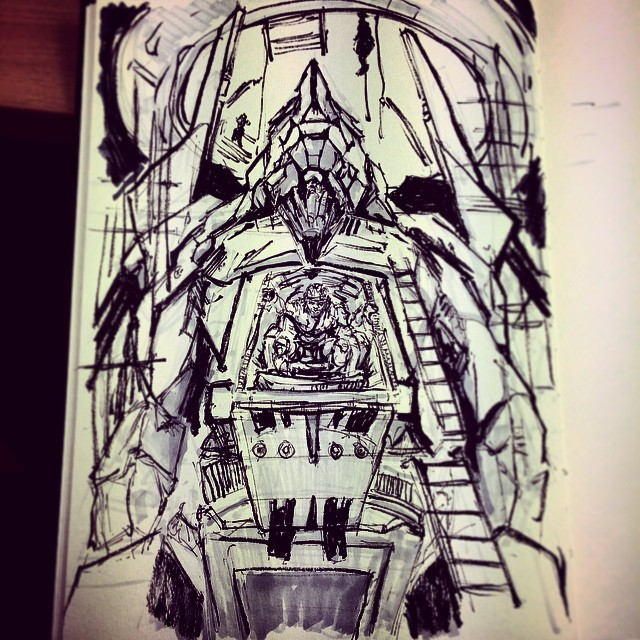 #inktober #ink #robot #mech #pilot #missioncomplete #repair #mechanic #art #illustration #drawing #sketchbook #sketching