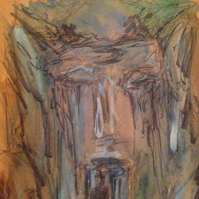 #sleepy #watercolor #doodle #waterfall #face