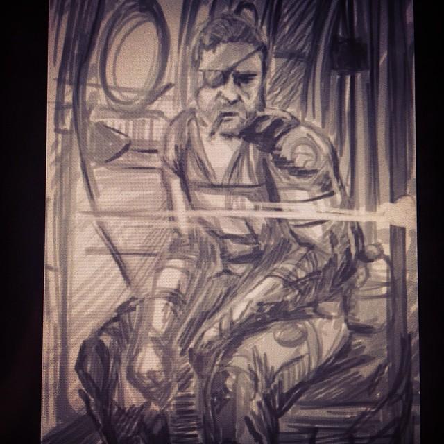 #wip #metalgearsolid #mgs #mgsv #groundzeroes #nakedsnake #snake #bigboss #cigar #war #outerheaven #phantompain #fanart #illustration #drawing #draweveryday #sketching #sketchbook #art