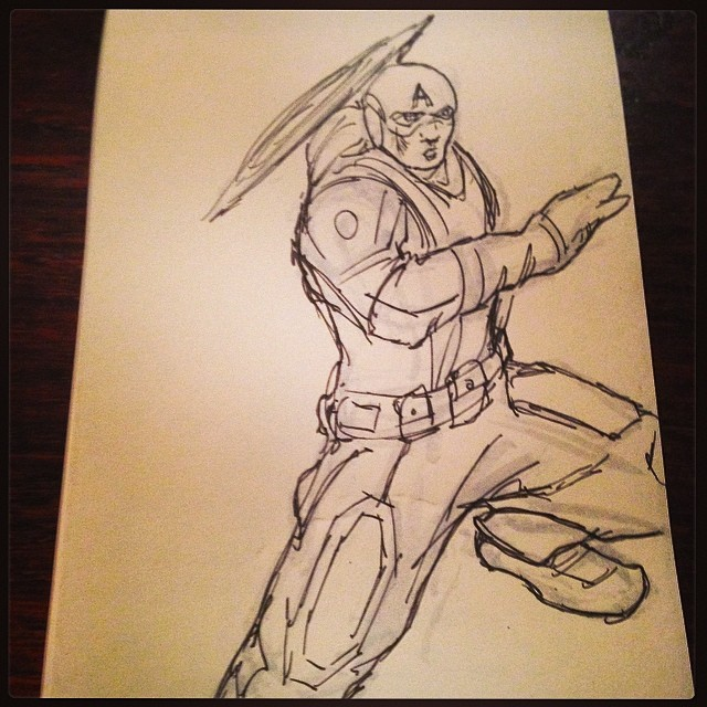 Christening my new #pocket #notepad #draweveryday #art #illustration #drawing #marvel #captainamerica #comic #m_artcollection #sketching