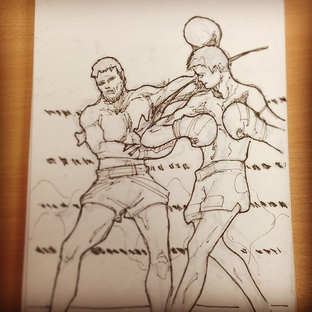 @blackiem #fight #resurrectionofthewarrior #muaythai #bradahlserey #kickboxing #sunrise #draweveryday #art #illustration #drawing #sketchbook #sketching