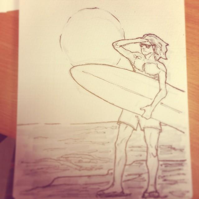 #surfer #dude #morning #beach #sunrise #surfboard #surfsup #cowabunga #art #illustration #drawing #draweveryday #copic #sketchbook #sketch