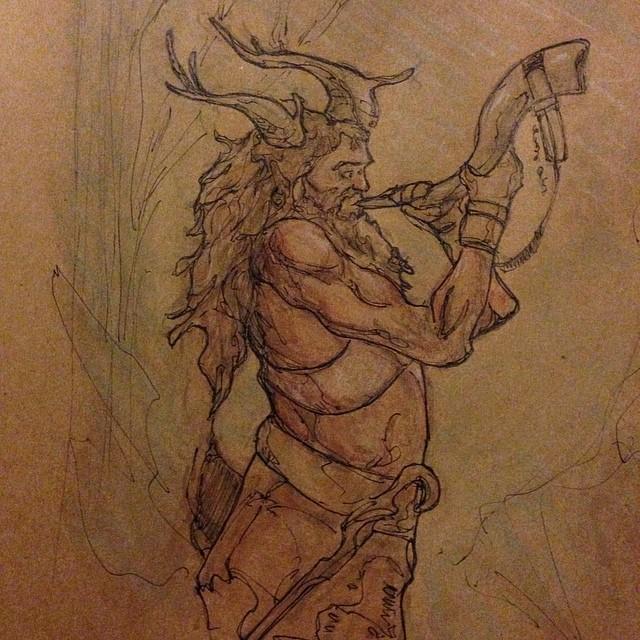 #art #illustration #drawing #draweveryday #horn #watercolor #painting #masterstudies #study #sketchbook #sketch #copic #marker #ink