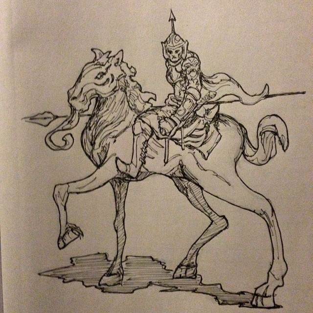 #horse #dark #warrior #art #spear #armor #illustration #drawing #sketch #sketchbook #ink