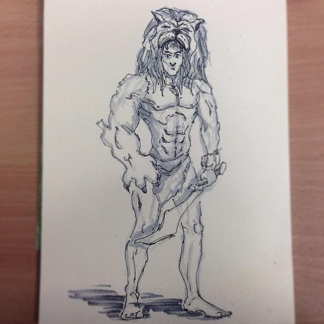 #amazon #warrior half #lion half #human #Tarzan #Hercules #art #illustration #drawing #ink #sword