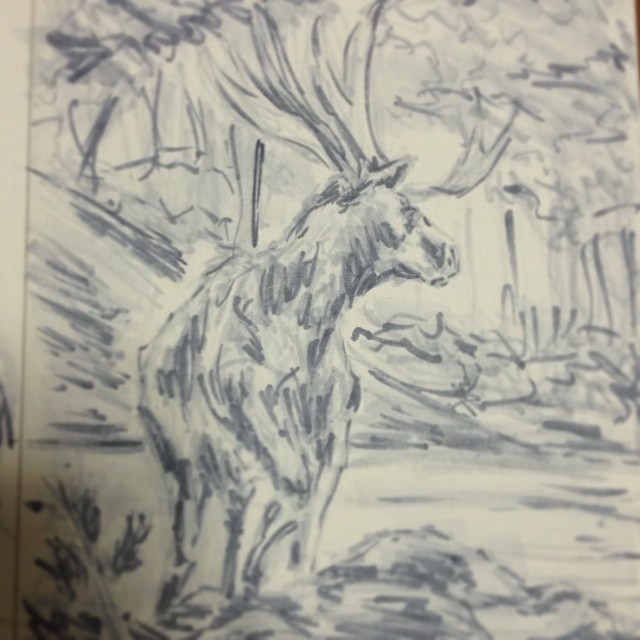 #art #illustration #drawing #copic #marker #painting #masterstudies #nature #moose #study