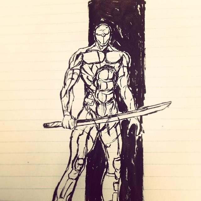 #metalgearsolid #mgs #art #illustration #ink #drawing #cyborg #ninja