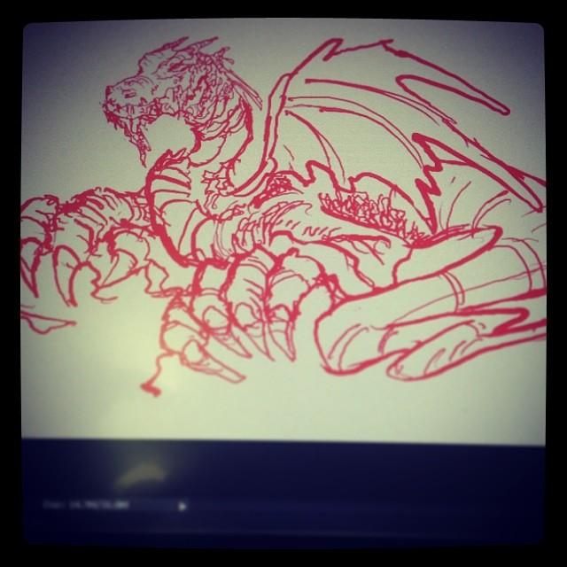 #drawing #art #illustration #dragon #wip