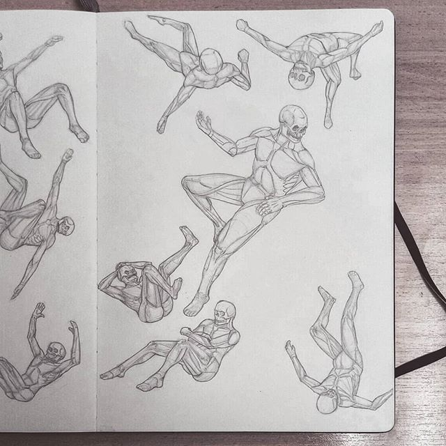 Falling. #sketch #sketches #sketch_daily #skull #anatomy #drawing #sketchbook #study #art #illustration #instaart #picoftheday  #anatomyart #anatomystudy #pose #man #dailysketch #asketchaday #draweveryday #artworks  #lunchtimesketch #muscles #male #artbook #falling #flips