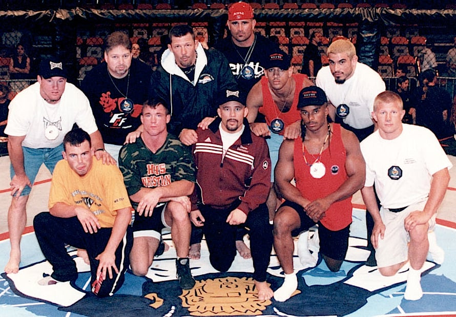 """Early picture of the Miletich fighting systems camp. These guys produced much of UFC's early champions"""" Tim Sylvia, Matt Hughes, Rich Franklin, Jenns Pulver and Pat Miletich. Out of Ohio. Not Okinawa."""