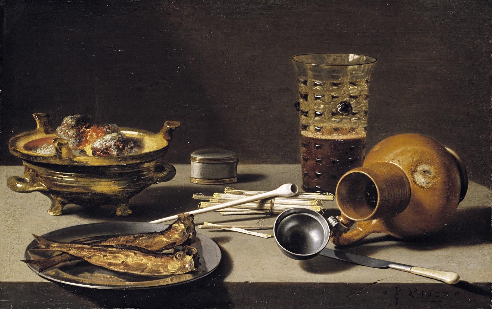 Питер Клас, «Натюрморт с рыбой, кувшином, бокалом и курительными принадлежностями», 1627
