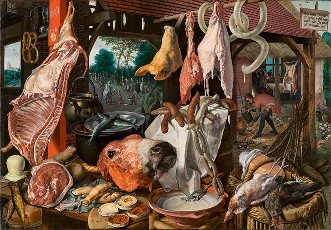 "Питер Артсен, ""Мясная лавка, или Кухня со сценой бегства в Египет"""