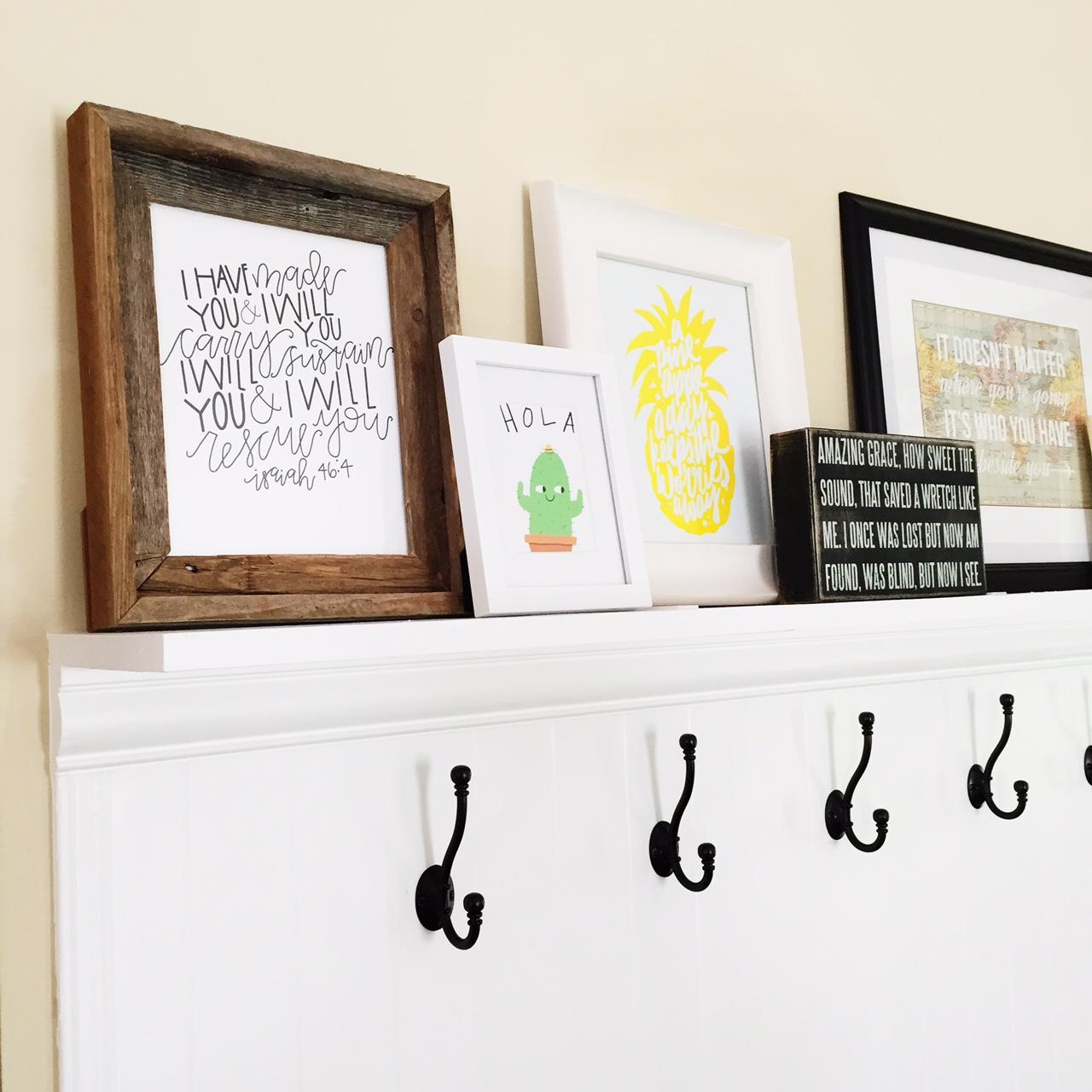 Print on far left by ThirstyHeartDesign. Pineapple print by Maiko Nagao.