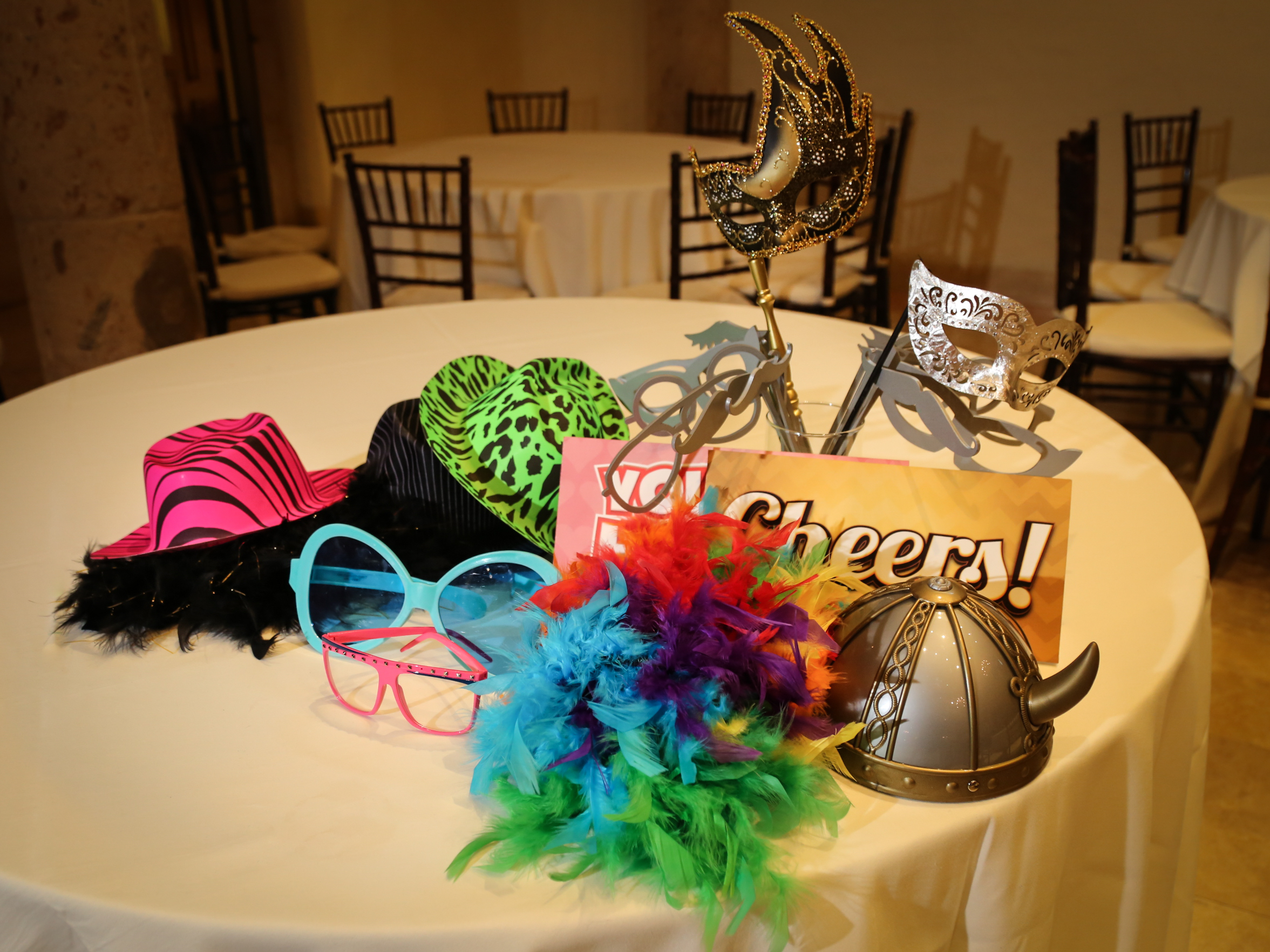 A variety of fun props is included with the Photobooth