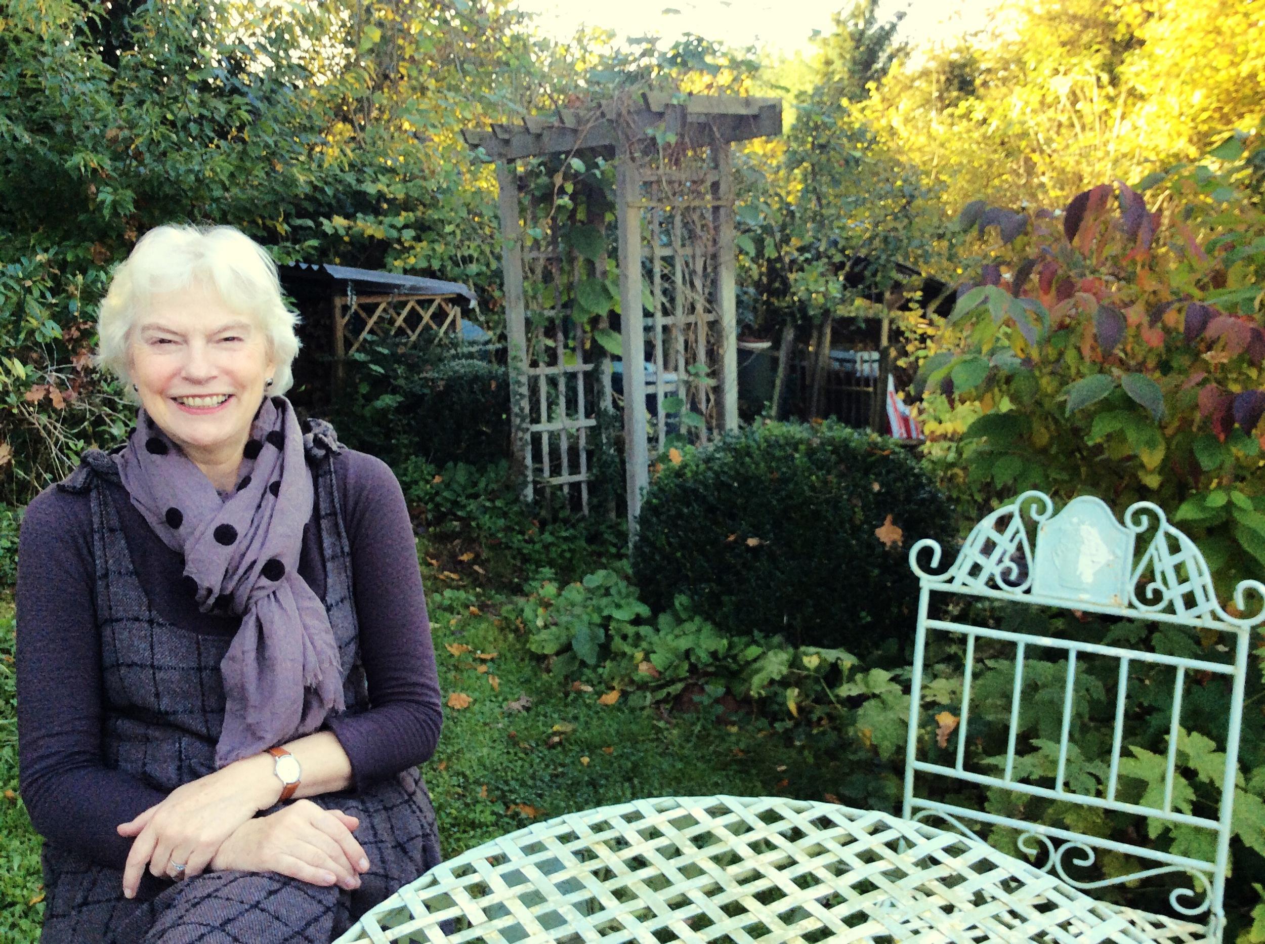Carol in her garden
