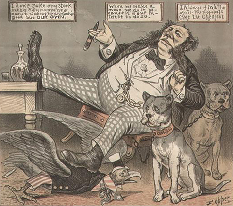 """A cartoon depicting railroad magnate William Henry Vanderbilt. After two of his trains collided, killing two people and injuring hundreds, a reporter asked him whether he had an obligation to consider the public when running his company. His response: """"The public be damned!"""" (Information and image from Kent Greenfield's """"sidebar"""" in The Washington Monthly , """" Corporate Law's Original Sin ."""")"""