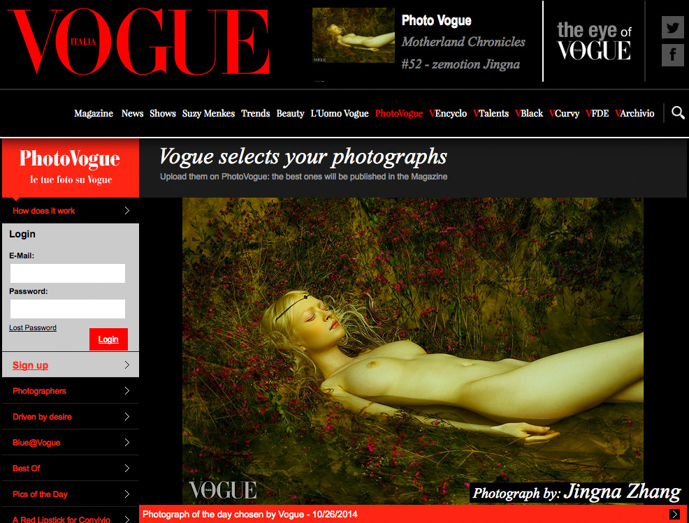 """""""Picture of the Day"""",  Vogue Italia Photo Vogue , 26 Oct 2014"""