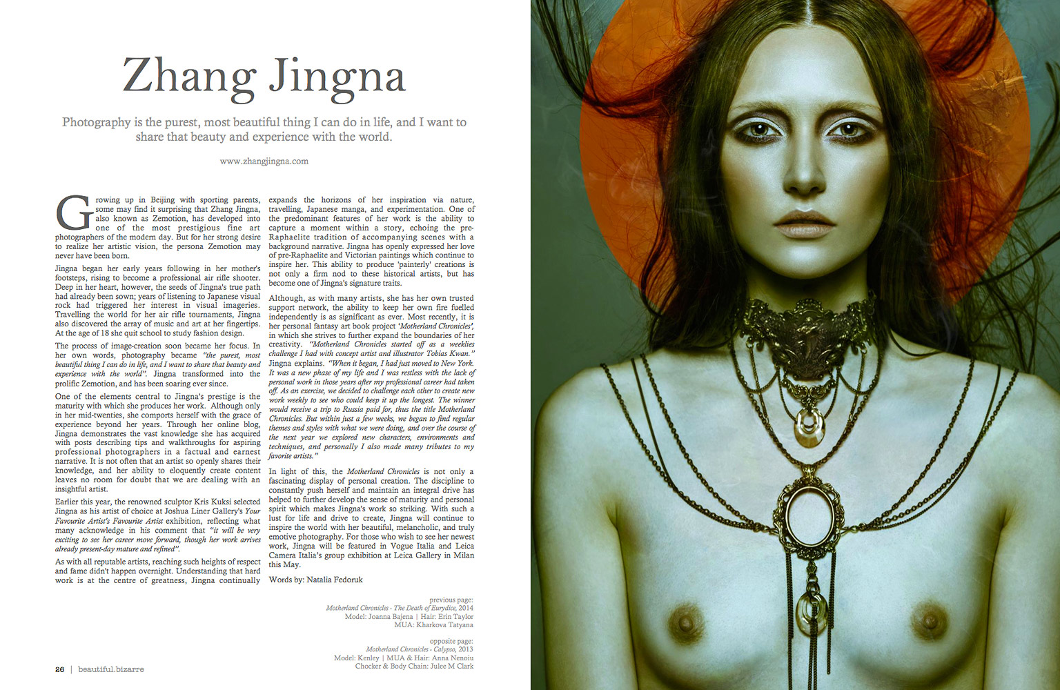 """Natalia Fedoruk, """" Zhang Jingna """",  Beautiful Bizarre  Issue 008, March 2015, 24-35."""
