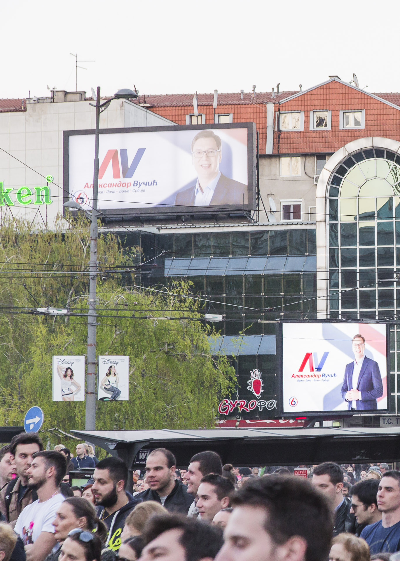 Vucic was prime minister and also candidate to the presidency of the republic. His ads occupied most of the public street signage in Serbia